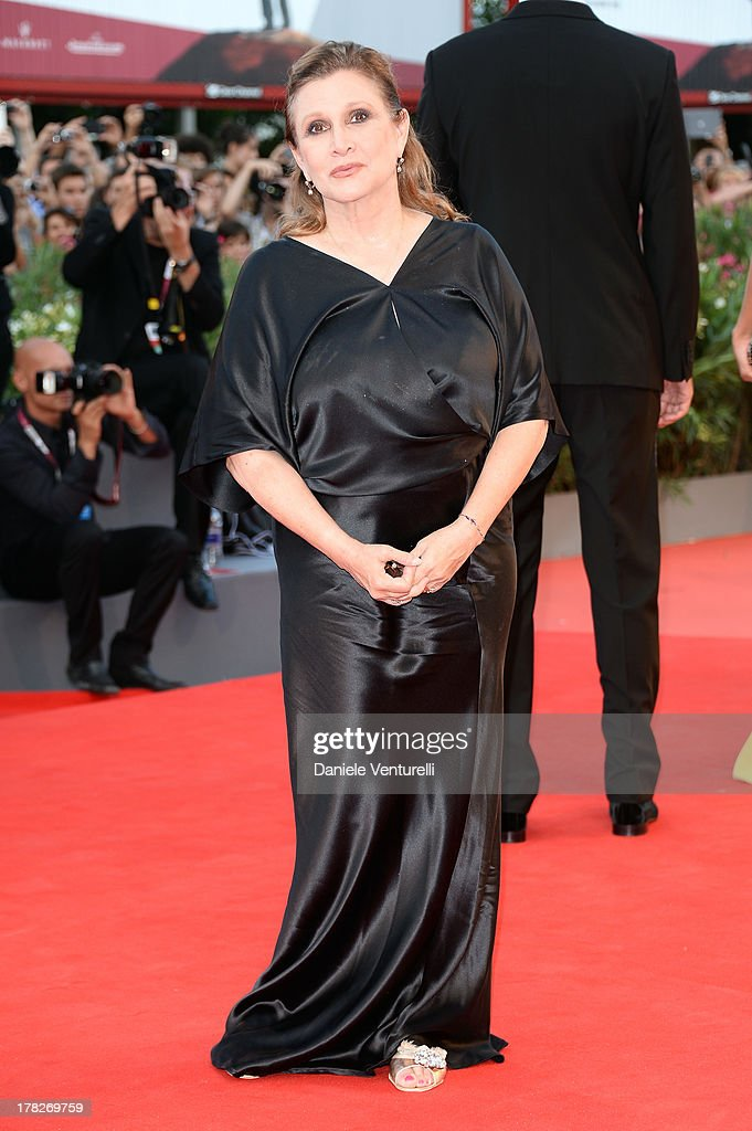 Jury member Carrie Fisher attends 'Gravity' premiere and Opening Ceremony during The 70th Venice International Film Festival at Sala Grande on August 28, 2013 in Venice, Italy.