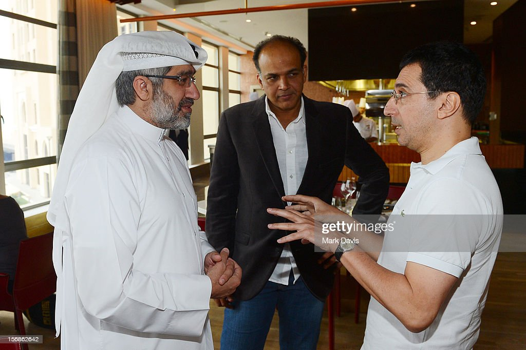 Jury Member Dr Emad Amralla Sultan with Ashutosh Gowariker and director Nadir Mokneche attend the Awards Lunch during the 2012 Doha Tribeca Film Festival at St Regis Hotel on November 23, 2012 in Doha, Qatar.