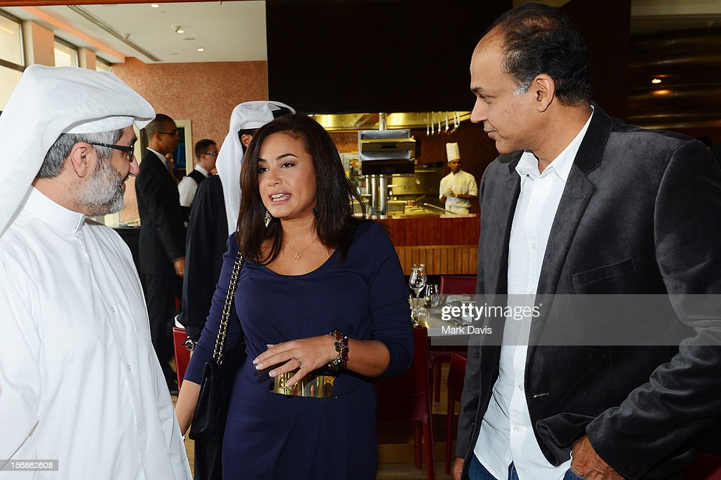 Jury Member Dr Emad Amralla Sultan with jury president Hend Sabry and Ashutosh Gowariker attend the Awards Lunch during the 2012 Doha Tribeca Film Festival at St Regis Hotel on November 23, 2012 in Doha, Qatar.