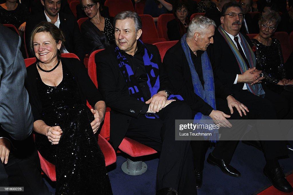 Jury member Ellen Kuras Klaus Wowereit and Joern Kubicki attend the Closing Ceremony during the 63rd Berlinale International Film Festival at...