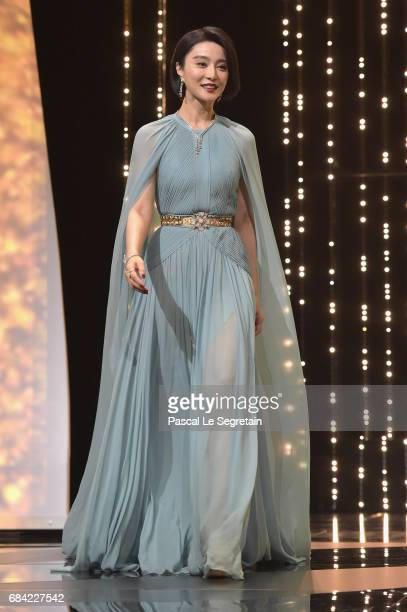 Jury member Fan Bingbing during the Opening Ceremony of the 70th annual Cannes Film Festival at Palais des Festivals on May 17 2017 in Cannes France