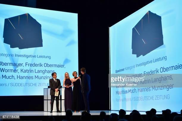 Jury member Giovanni di Lorenzo Winner of the 'Investigative Journalism' Award Vanessa Wormer host Caren Miosga and award winner Frederik Obermaier...