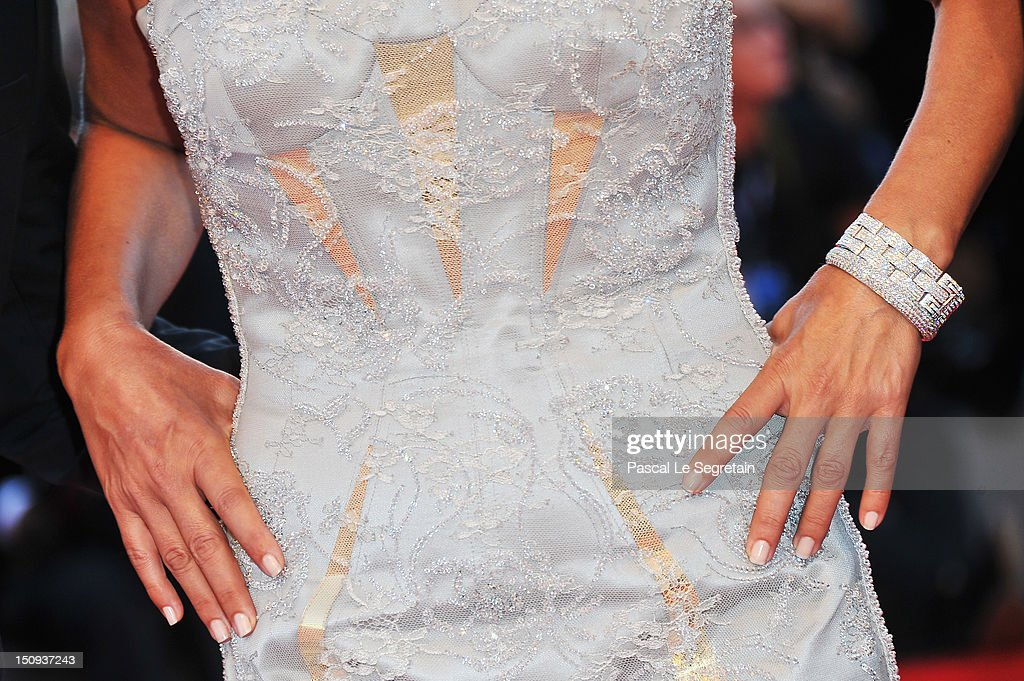 Jury member Isabella Ferrari (jewellery detail) attends 'The Reluctant Fundamentalist' Premiere And Opening Ceremony during the 69th Venice International Film Festival at Palazzo del Cinema on August 29, 2012 in Venice, Italy.