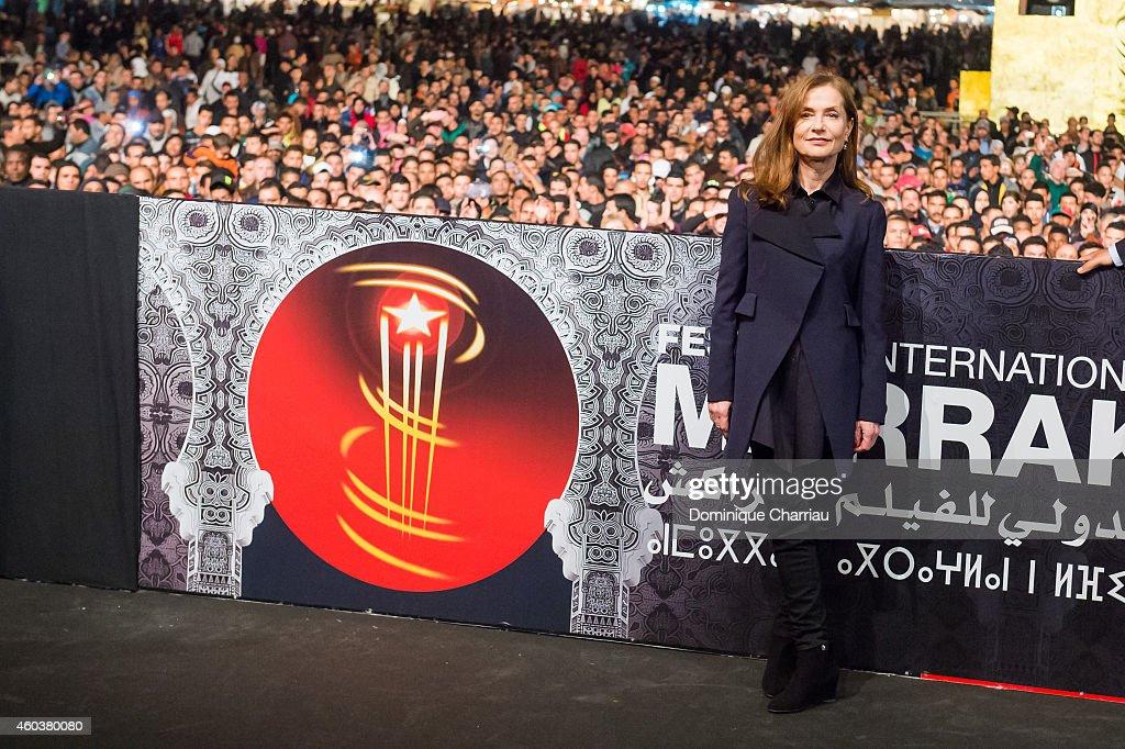 Jury Member Isabelle Huppert presents 'La Ritournelle' during 14th Marrakech International Film Festival at Jemaa elFnaa Square on December 12 2014...