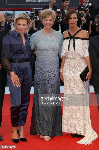 Jury member Jasmine Trinca president Annette Bening and jury member Anna Mouglalis arrive at the Award Ceremony of the 74th Venice Film Festival at...