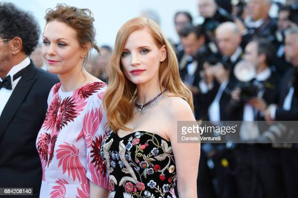 Jury member Jessica Chastain and Maren Ade attend the 'Ismael's Ghosts ' screening and Opening Gala during the 70th annual Cannes Film Festival at...