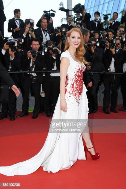 Jury member Jessica Chastain attends the Closing Ceremony during the 70th annual Cannes Film Festival at Palais des Festivals on May 28 2017 in...
