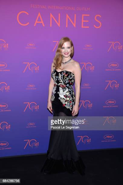Jury member Jessica Chastain attends the Opening Gala dinner during the 70th annual Cannes Film Festival at Palais des Festivals on May 17 2017 in...