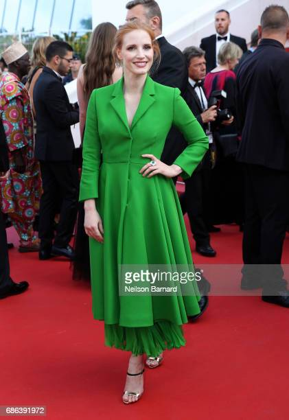 Jury member Jessica Chastain attends the 'The Meyerowitz Stories' screening during the 70th annual Cannes Film Festival at Palais des Festivals on...