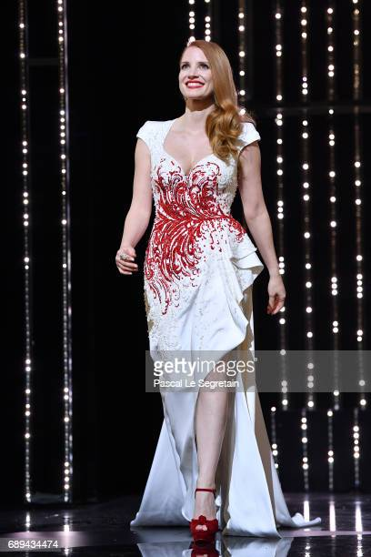 Jury member Jessica Chastain is seen on stage during the Closing Ceremony of the 70th annual Cannes Film Festival at Palais des Festivals on May 28...