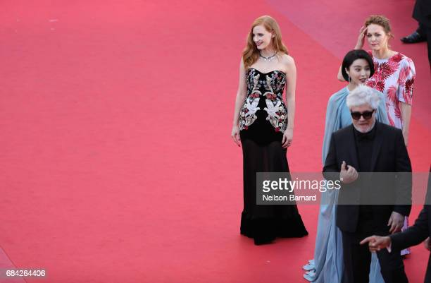 Jury member Jessica Chastain poses next to jury members Maren Ade and Fan Bingbing and President of the jury Pedro Almodovar attend the 'Ismael's...