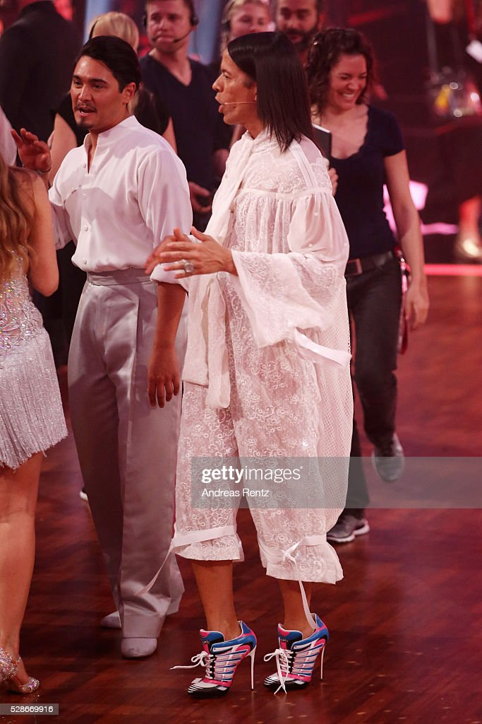 Jury member Jorge Gonzalez dances during a break at the 8th show of the television competition 'Let's Dance' on May 06, 2016 in Cologne, Germany.