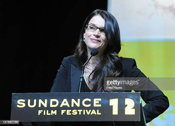 Jury member Julia Ormond speaks during the Awards Night Ceremony during the 2012 Sundance Film Festival at the Basin Recreation Field House on...