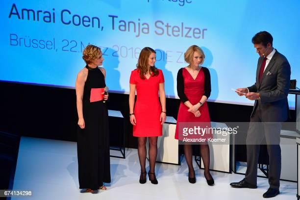 Jury member Klaus Brinkbaeumer EgonErwinKischAward Winners Amrai Coen Tanja Stelzer and host Caren Miosga speak on stage at the Nannen Award 2017 on...