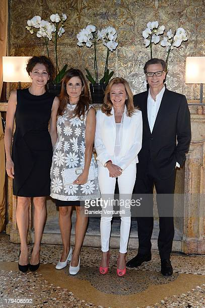 Jury member Ksenia Rappoport Livia Firth Chopard copresident and artistic director Caroline Scheufele and actor Colin Firth attends Chopard during...