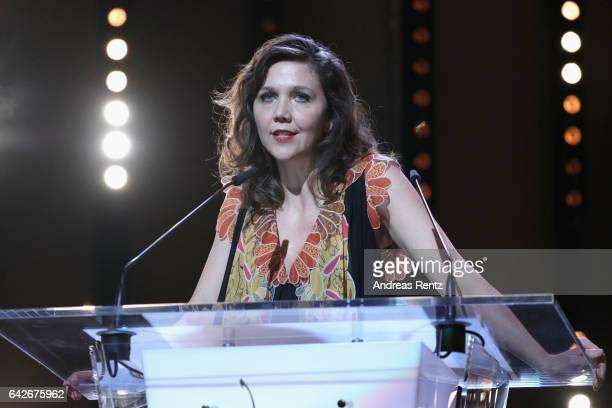 Jury member Maggie Gyllenhaal speaks on stage during the closing ceremony of the 67th Berlinale International Film Festival Berlin at Berlinale...