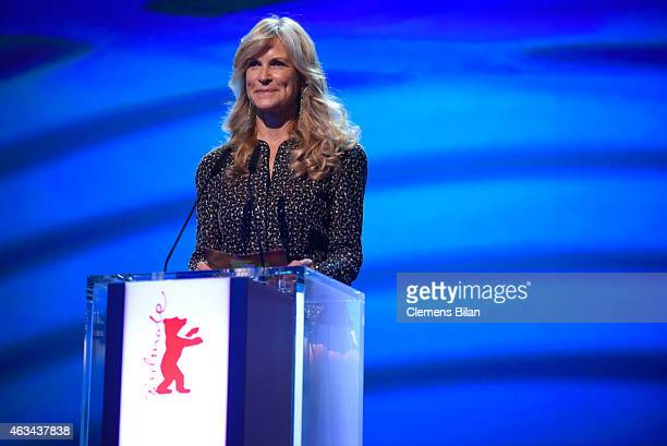Jury member Martha De Laurentiis speaks on stage during the Closing Ceremony of the 65th Berlinale International Film Festival at Berlinale Palace on...