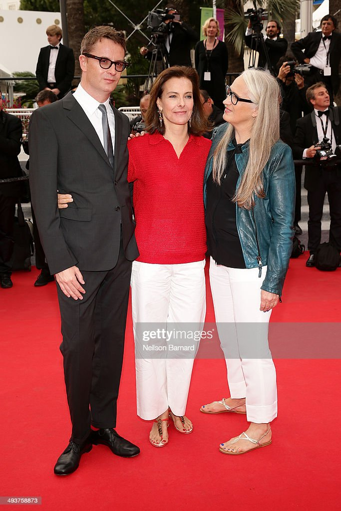 Jury member Nicolas Winding Refn, jury member Carole Bouquet and jury president Jane Campion attend the red carpet for the Palme D'Or winners at the 67th Annual Cannes Film Festival on May 25, 2014 in Cannes, France.