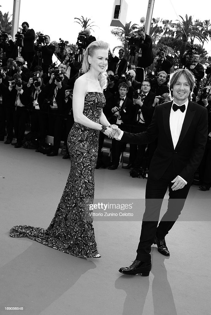 This image has been converted to black and white) Jury member Nicole Kidman (L) and Keith Urban attend 'Inside Llewyn Davis' Premiere during the 66th Annual Cannes Film Festival at Palais des Festivals on May 19, 2013 in Cannes, France.