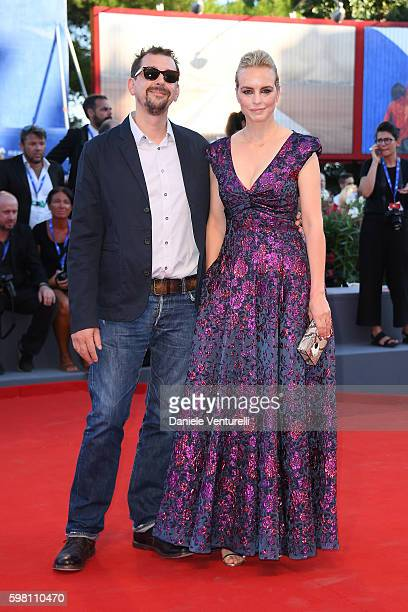 Jury member Nina Hoss and Alex Silva attend the opening ceremony and premiere of 'La La Land' during the 73rd Venice Film Festival at Sala Grande on...