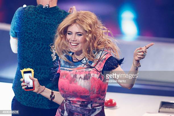 Jury member Palina Rojinski gestures during the 1st live show of 'Got to Dance' on August 1 2014 in Cologne Germany