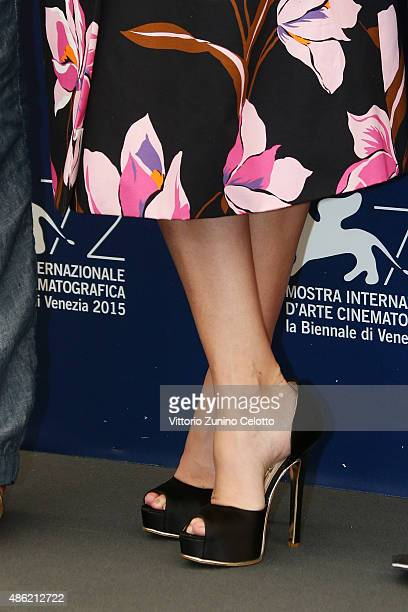 Jury member Paz Vega shoe detail attends the ORIZZONTI Jury Photocall during the 72nd Venice Film Festival on September 2 2015 in Venice Italy