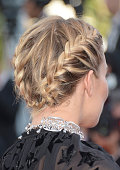 Jury member Sienna Miller hair detail attends the 'Carol' Premiere during the 68th annual Cannes Film Festival on May 17 2015 in Cannes France