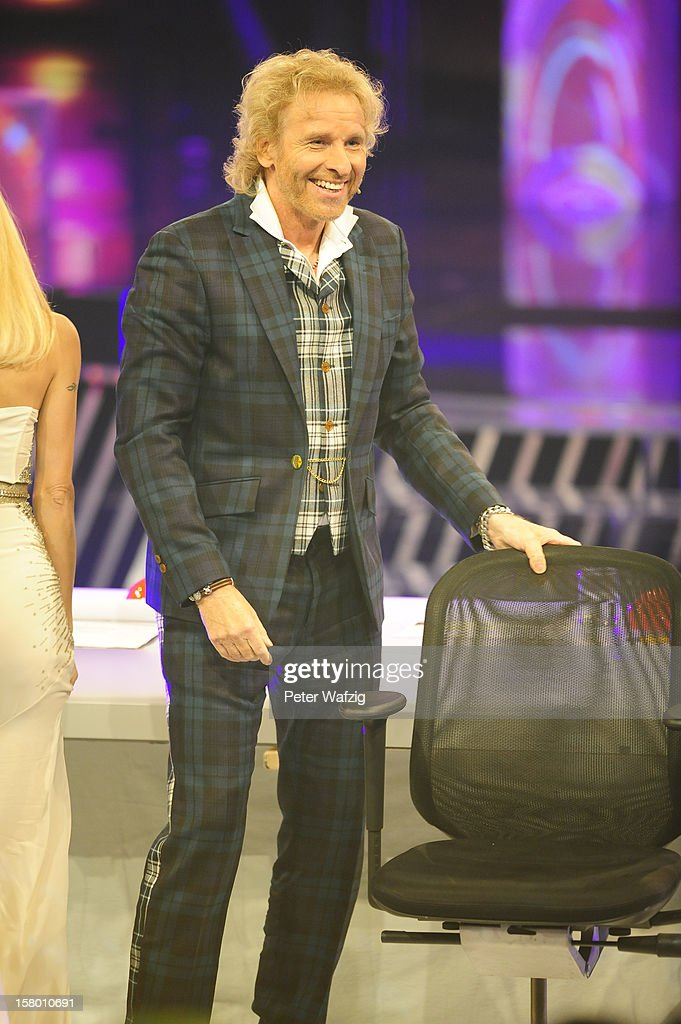 Jury member <a gi-track='captionPersonalityLinkClicked' href=/galleries/search?phrase=Thomas+Gottschalk&family=editorial&specificpeople=206369 ng-click='$event.stopPropagation()'>Thomas Gottschalk</a> at the 'Das Supertalent' Semi Finals on December 08, 2012 in Cologne, Germany.