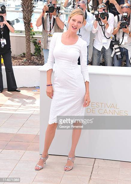 Jury member Uma Thurman attends the Jury Photocall at the Palais des Festivals during the 64th Cannes Film Festival on May 11 2011 in Cannes France
