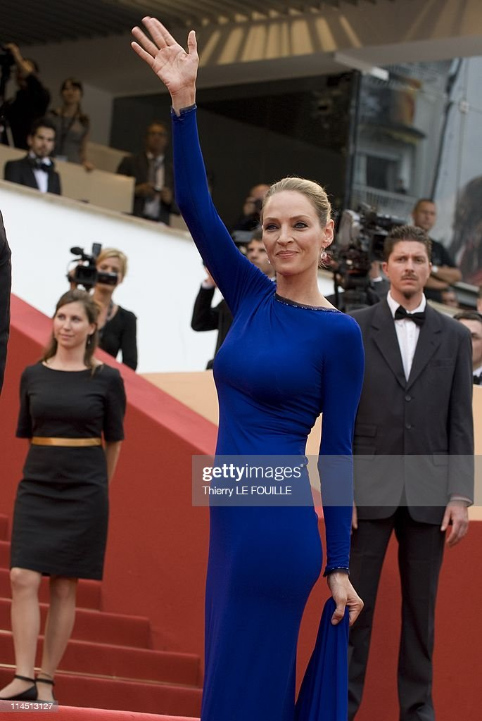 Jury Member Uma Thurman attends the 'Les BienAimes' premiere at the Palais des Festivals during the 64th Cannes Film Festival on May 22 2011 in...