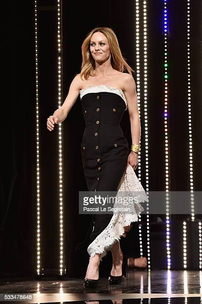 Jury member Vanessa Paradis appears on stage during the closing ceremony of the annual 69th Cannes Film Festival at Palais des Festivals on May 22...