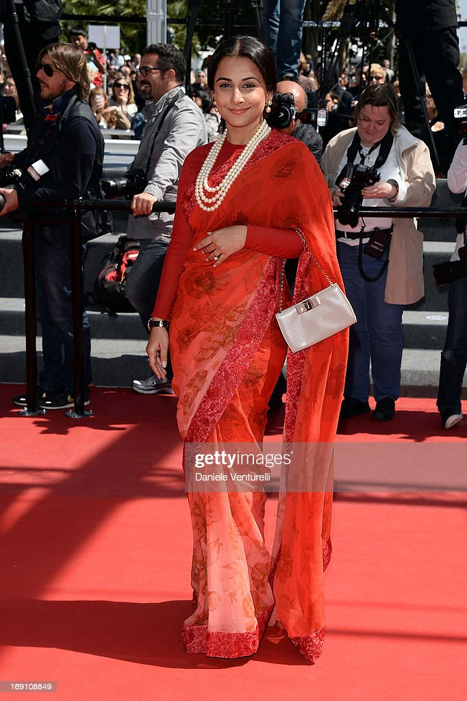 Jury member Vidya Balan attends the Premiere of 'Un Chateau En Italie' during the 66th Annual Cannes Film Festival at the Palais des Festivals on May...