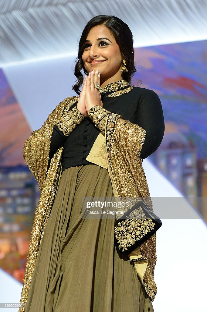 Jury member Vidya Balan on stage at the Closing Ceremony during the 66th Annual Cannes Film Festival at the Palais des Festivals on May 26 2013 in...