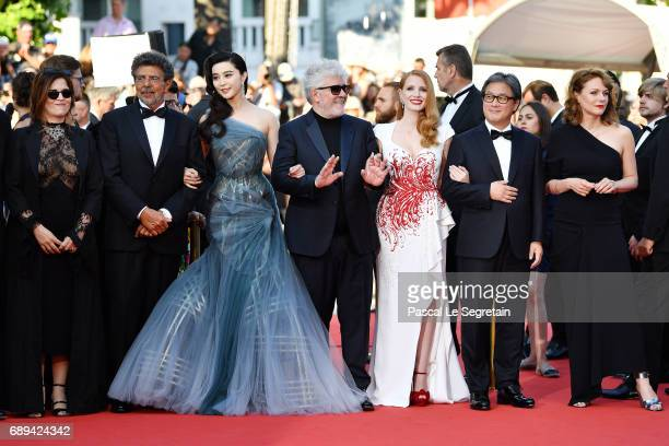 Jury members Agnes Jaoui Gabriel Yared Fan Bingbing President of the jury Pedro Almodovar jury members Jessica Chastain Park Chanwook and Maren Ade...