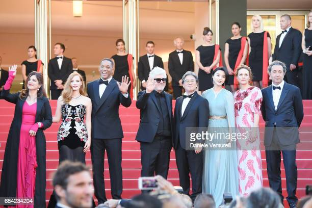 Jury members Agnes Jaoui Jessica Chastain and Will Smith President of the jury Pedro Almodovar and jury members Park Chanwook Fan Bingbing Maren Ade...