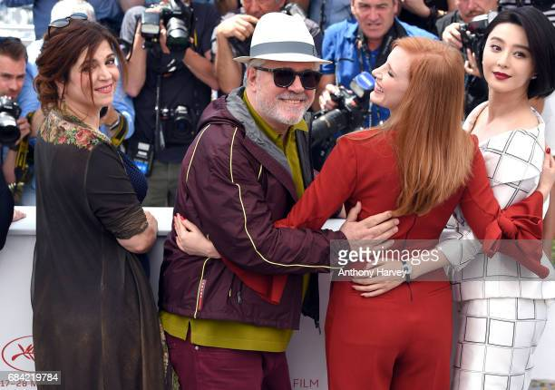 Jury members Agnes Jaoui Pedor Almodovar Jessica Chastain and Fan Bingbing attend the Jury photocall during the 70th annual Cannes Film Festival at...