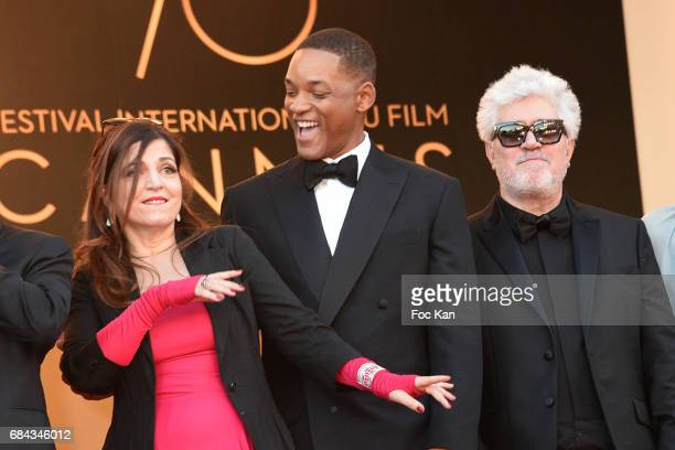 Jury members Agnes Jaoui Will Smith President of the jury Pedro Almodovar attend the 'Ismael's Ghosts ' screening and Opening Gala during the 70th...