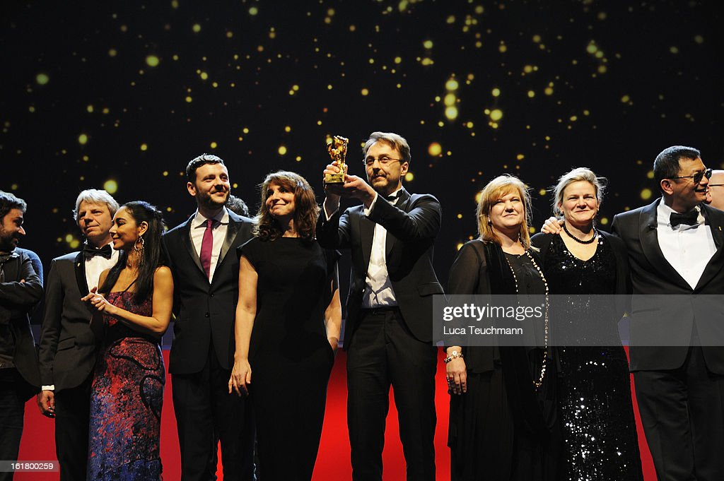 Jury members and award winners pose on stage after the Closing Ceremony during the 63rd Berlinale International Film Festival at Berlinale Palast on February 14, 2013 in Berlin, Germany.