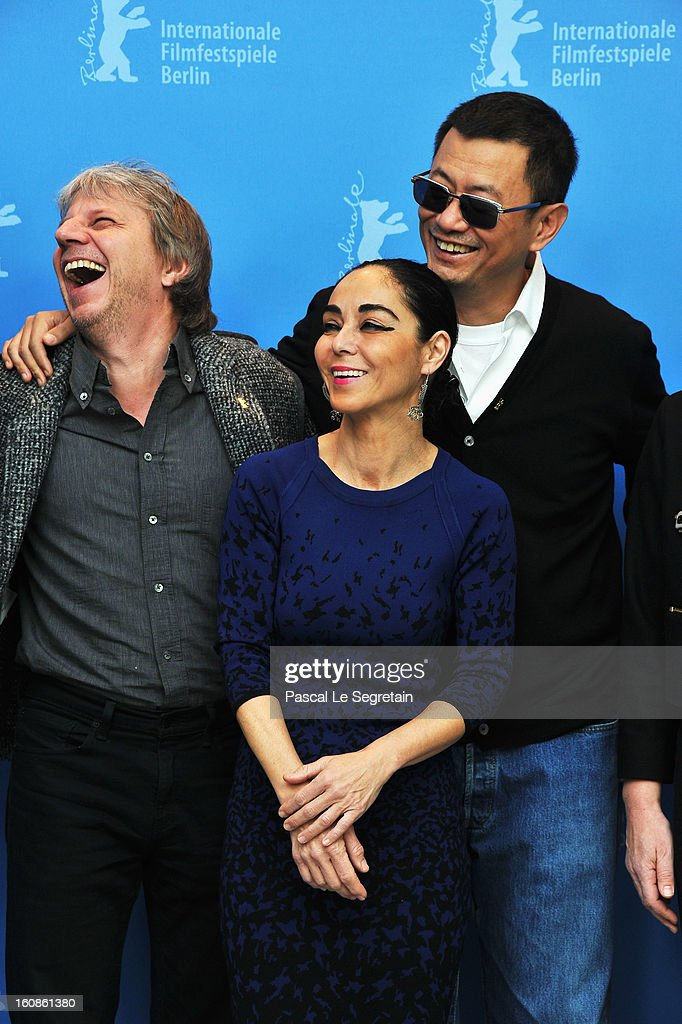 Jury members Andreas Dresen, <a gi-track='captionPersonalityLinkClicked' href=/galleries/search?phrase=Shirin+Neshat&family=editorial&specificpeople=3200877 ng-click='$event.stopPropagation()'>Shirin Neshat</a> and Jury President Wong Kar Wai attend the International Jury Photocall during the 63rd Berlinale International Film Festival at the Grand Hyatt on February 7, 2013 in Berlin, Germany.