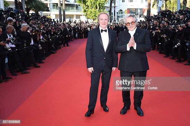 Jury members Arnaud Desplechin and Geroge Miller attend the screening of 'Julieta' at the annual 69th Cannes Film Festival at Palais des Festivals on...