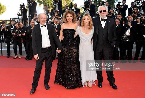 Jury members Arnaud Desplechin Valeria Golino Vanessa Paradis and Donald Sutherland attend the 'The Last Face' premiere during the 69th annual Cannes...