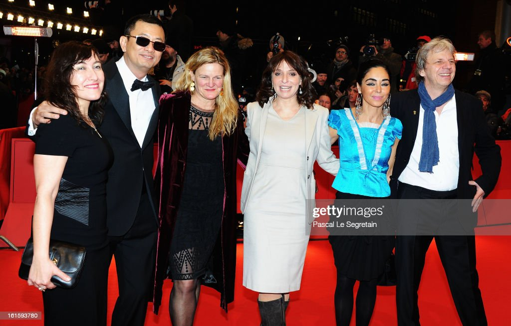 Jury members Athina Rachel Tsangari, Wong Kar Wai, Ellen Kuras, Susanne Bier, Tim Robbins, Shirin Neshat and Andreas Dresen attend the 'Side Effects' Premiere during the 63rd Berlinale International Film Festival at Berlinale Palast on February 12, 2013 in Berlin, Germany.