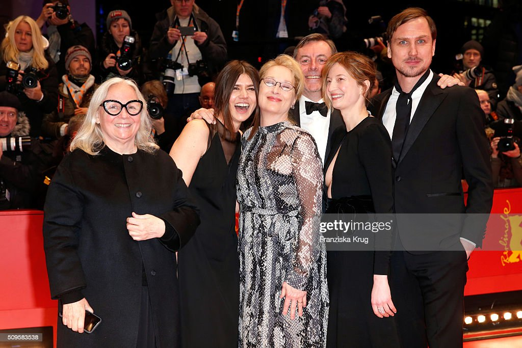 Jury members Brigitte Lacombe, Malgorzata Szumowska, <a gi-track='captionPersonalityLinkClicked' href=/galleries/search?phrase=Meryl+Streep&family=editorial&specificpeople=171097 ng-click='$event.stopPropagation()'>Meryl Streep</a>, Nick James, <a gi-track='captionPersonalityLinkClicked' href=/galleries/search?phrase=Alba+Rohrwacher&family=editorial&specificpeople=4296508 ng-click='$event.stopPropagation()'>Alba Rohrwacher</a> and <a gi-track='captionPersonalityLinkClicked' href=/galleries/search?phrase=Lars+Eidinger&family=editorial&specificpeople=2984804 ng-click='$event.stopPropagation()'>Lars Eidinger</a> attend the 'Hail, Caesar!' premiere during the 66th Berlinale International Film Festival Berlin at Berlinale Palace on February 11, 2016 in Berlin, Germany.