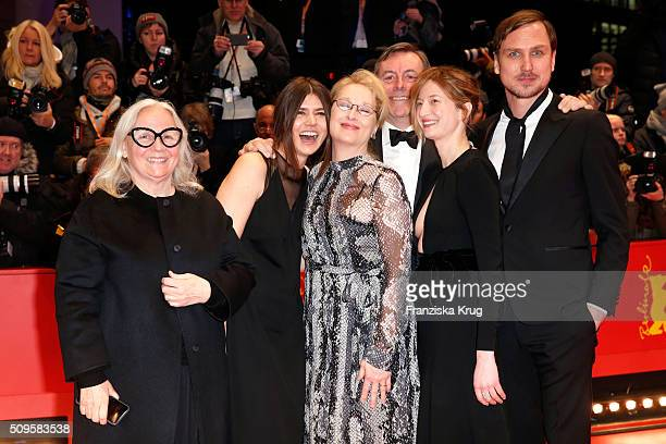 Jury members Brigitte Lacombe Malgorzata Szumowska Meryl Streep wearing Prada Nick James Alba Rohrwacher and Lars Eidinger attend the 'Hail Caesar'...