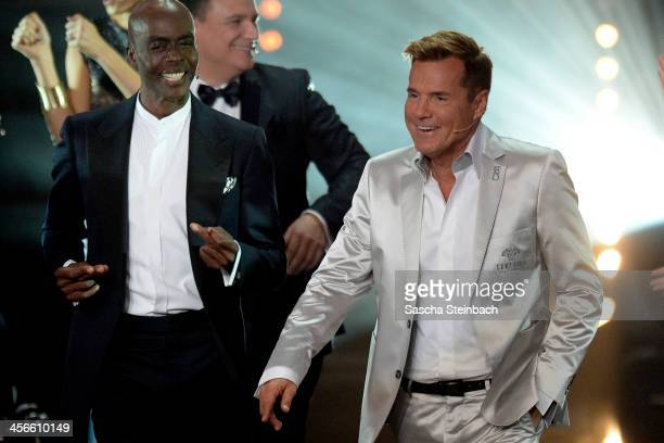 Jury members Bruce Darnell and Dieter Bohlen arrive at the finals of 'Das Supertalent' at Coloneum on December 14 2013 in Cologne Germany