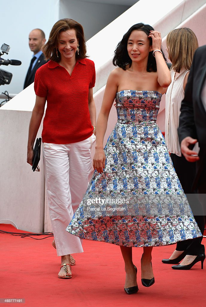 Jury Members Carole Bouquet and Do-yeon Jeon attend the red carpet for the Palme D'Or winners at the 67th Annual Cannes Film Festival on May 25, 2014 in Cannes, France.