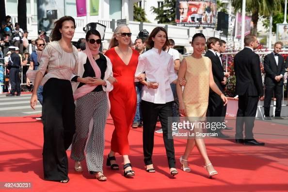 Jury members Carole Bouquet Leila Hata jury president Jane Campion jury members Sofia Coppola and Doyeon Jeon attend the 'Futatsume No Mado' premiere...