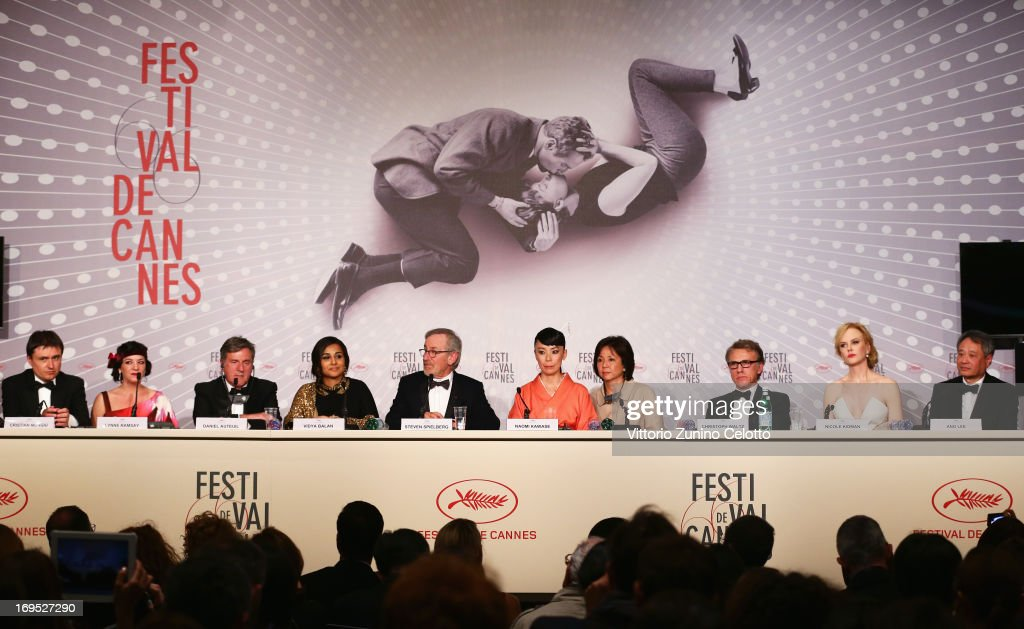 Jury members Cristian Mungiu, Lynne Ramsay, Daniel Auteuil, Vidya Balan, Steven Spielberg, Naomi Kawase, guest, Christoph Waltz, Nicole Kidman and Ang Lee speak at the Palme D'Or Winners Press Conference during the 66th Annual Cannes Film Festival at the Palais des Festivals on May 26, 2013 in Cannes, France.