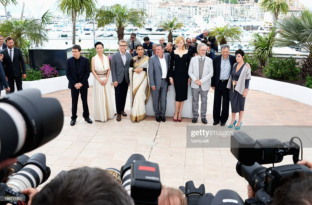 Jury members Cristian Mungiu, Naomi Kawase, Christoph Waltz, Vidya Balan, Daniel Auteuil, Nicole Kidman, jury president Steven Spielberg and jury members Ang Lee and Lynne Ramsay attend the Jury photocall during the 66th Annual Cannes Film Festival at Palais des Festivals on May 15, 2013 in Cannes, France.