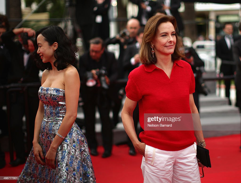 Jury members Do-yeon Jeon (L) and Carole Bouquet attend the red carpet for the Palme D'Or winners at the 67th Annual Cannes Film Festival on May 25, 2014 in Cannes, France.